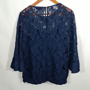 Plus Size Soieblu Lace Top with Bell Sleeves 1X